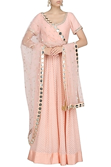 Rose Pink Chanderi Anarkali with Mirror Work Dupatta by Umrao Couture