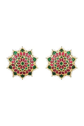 Gold Finish Semi-Precious Kundan Stud Earrings by Unniyarcha