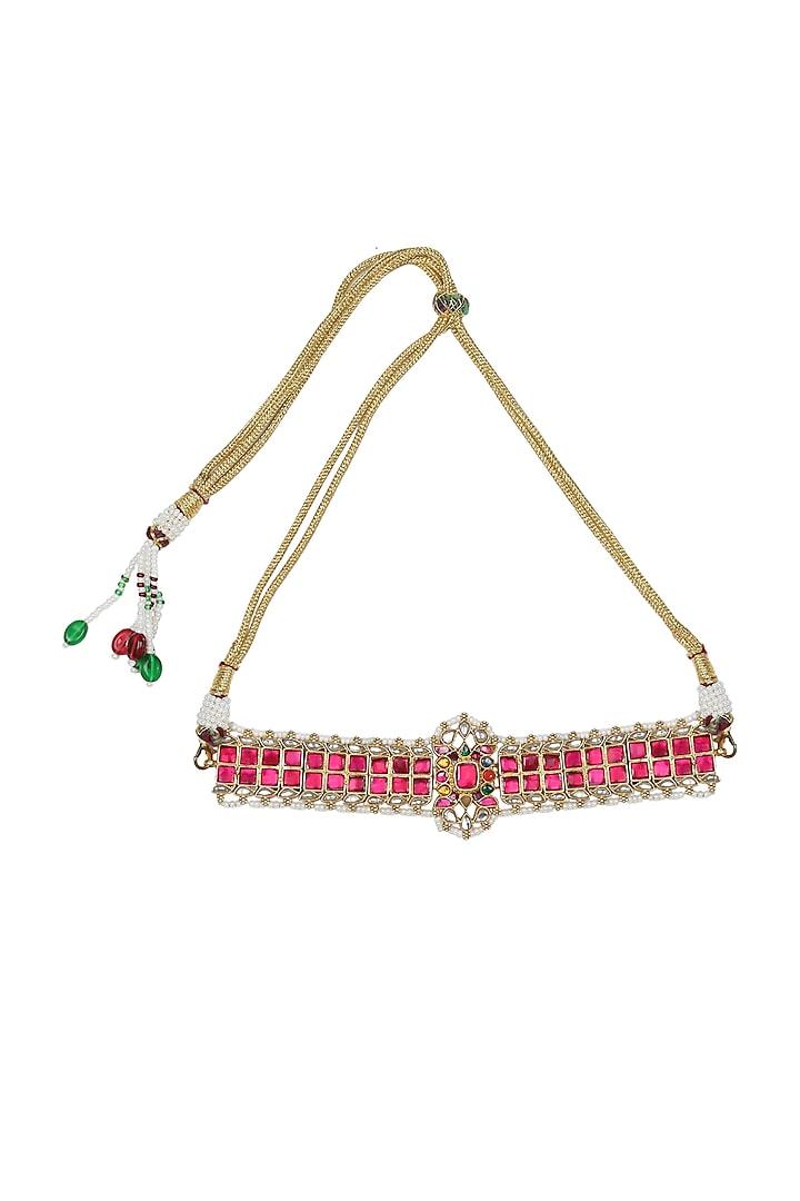 Gold Finish Choker Necklace by Unniyarcha