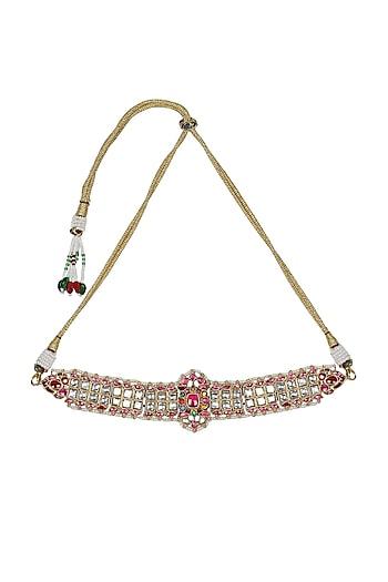 Gold Finish Navratan Choker Necklace by Unniyarcha