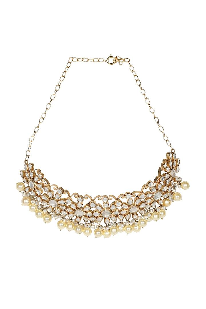 Gold Finish Polki Choker Necklace by Unniyarcha