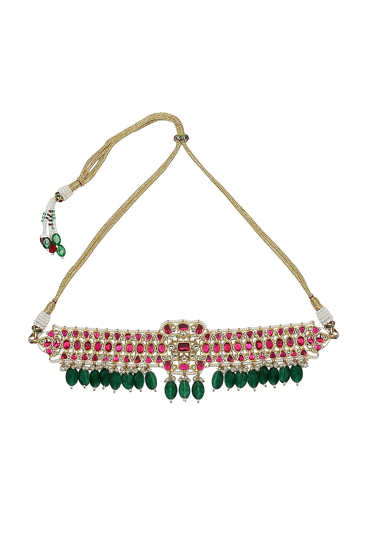 Gold Finish Kundan Choker Necklace by Unniyarcha