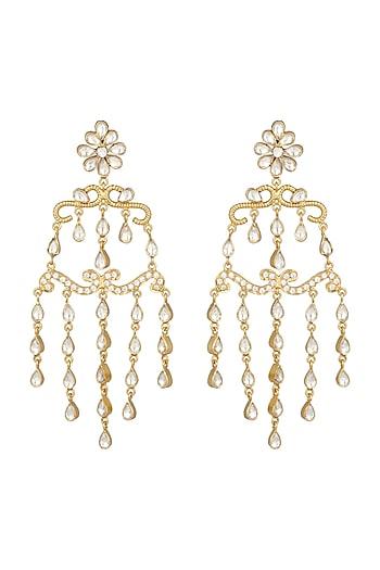 Gold Finish Polki Dangler Earrings by Unniyarcha