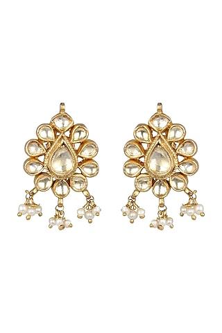 Gold Finish Jadau Stud Earrings by Unniyarcha