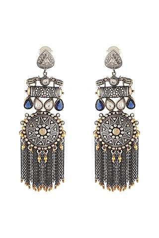 Silver & Gold Finish Glass Stones Earrings by Unniyarcha