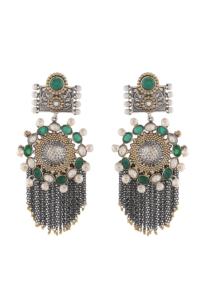 Silver & Gold Finish Pearls Earrings by Unniyarcha