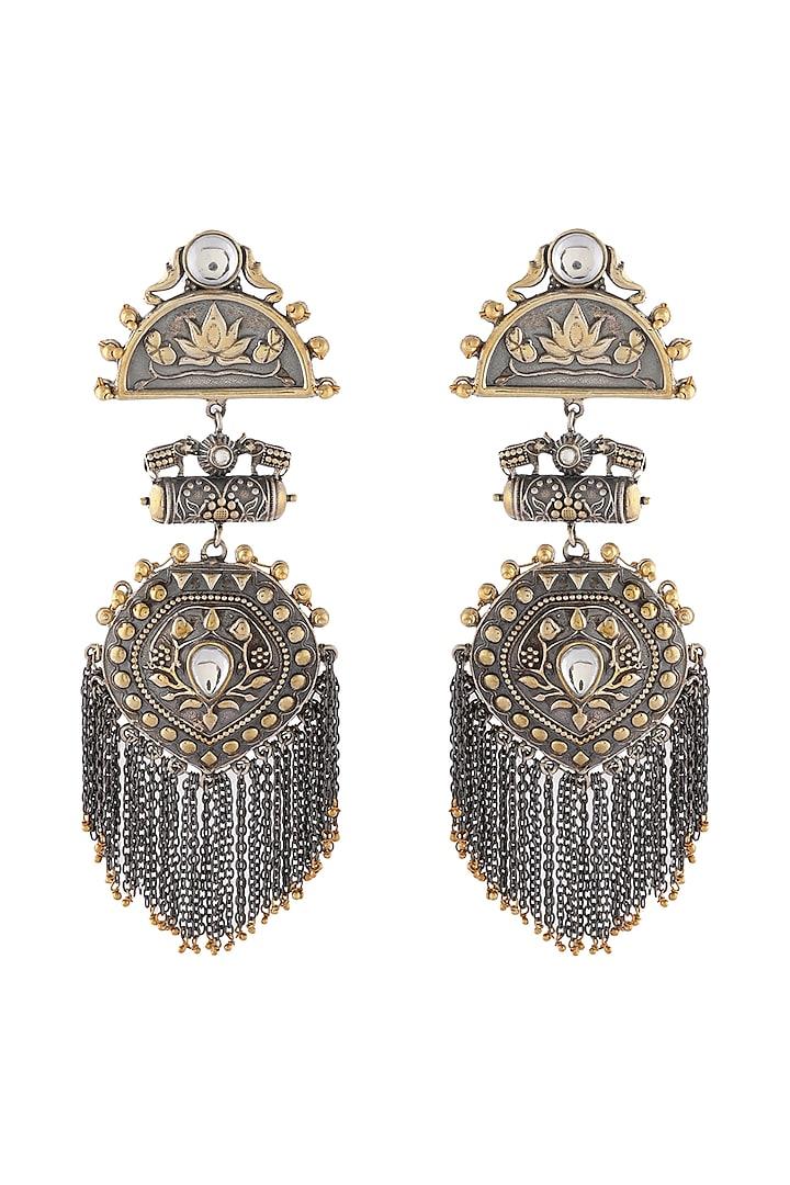 Gold & Silver Finish Semi Precious Stones Earrings by Unniyarcha