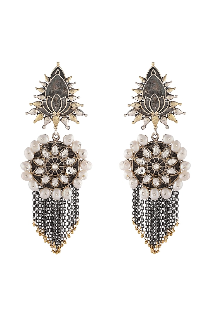 Gold & Silver Finish Pearls Earrings by Unniyarcha