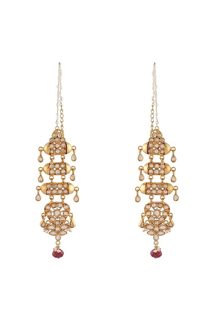 Gold Finish Kundan Earrings by Unniyarcha