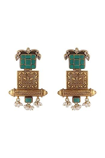 Gold Finish Kundan Dangler Earrings by Unniyarcha