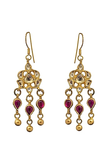 Gold Finish Beads Earrings by Unniyarcha