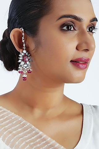 Silver Finish Pearls Earrings by Unniyarcha