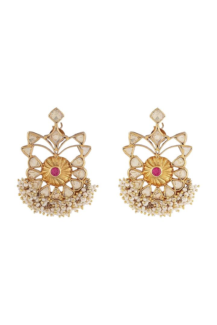 Gold Finish Zircon Earrings by Unniyarcha