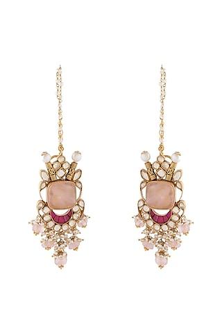 Gold Finish Rose Quartz Earrings by Unniyarcha