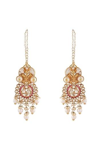 Gold Finish Kundan & Pearls Earrings by Unniyarcha