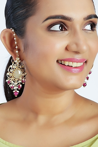 Gold Finish Pearls Dangler Earrings by Unniyarcha