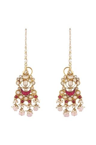 Gold Finish Rose Quartz & Kundan Earrings by Unniyarcha