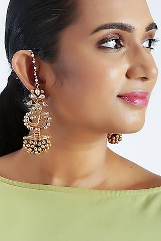 Gold Finish Pearls Peacock Earrings by Unniyarcha