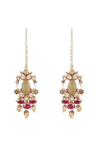 Gold Finish Prehnite Earrings by Unniyarcha