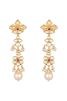 Antique Gold Finish Kundan & Pearl Earrings by Unniyarcha