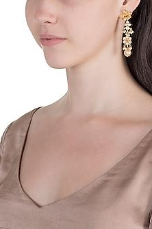 Antique Gold Finish Kundan & Pearl Earrings by Unniyarcha