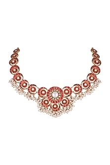 Antique Gold Finish Kundan & Pearl Red Moon Necklace by Unniyarcha