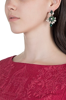 Oxidised Silver Finish Green Stone Floral Earrings by Unniyarcha