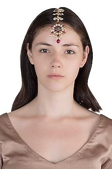 Gold Finish Rose Quartz Stone Head Harness by Unniyarcha