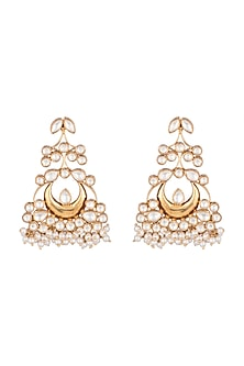Gold Finish Kundan Jadau Moon Earrings by Unniyarcha