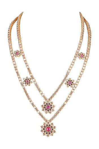 Gold Finish Polki Double Necklace by Unniyarcha