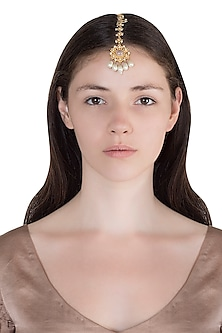 Gold Finish Rose Quartz Stone & Pearl Head Harness by Unniyarcha