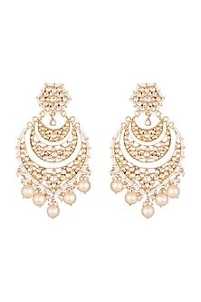 Gold Finish Kundan & Pearl Long Earrings by Unniyarcha