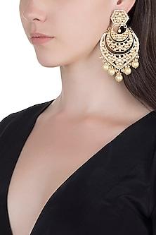 Gold Finish Kundan & Pearl Long Earrings by Unniyarcha