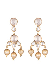 Gold Plated Kundan & Pearl Earrings by Unniyarcha