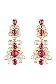 Gold Plated Pearls & Red Quartz Earrings by Unniyarcha