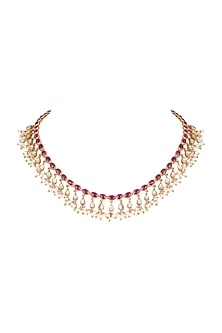 Gold Plated Pearls & Red Quartz Necklace by Unniyarcha