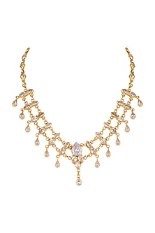 Gold Plated Zircon Necklace by Unniyarcha