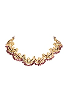 Gold Plated Red Beads & Quartz Necklace by Unniyarcha