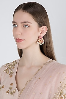 Gold Plated Pearls & Glass Earrings by Unniyarcha