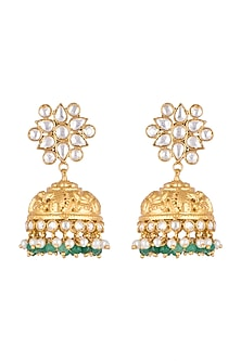 Gold Plated Green Beads Jhumka Earrings by Unniyarcha