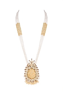 Gold Plated Pearls & Beads Necklace by Unniyarcha