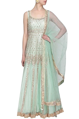 Powder blue gota patti and beads embroidered anarkali set by Preeti S Kapoor