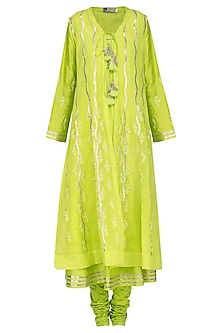 Lime Green Embroidered Front Open Kali Jacket Set by GOPI VAID