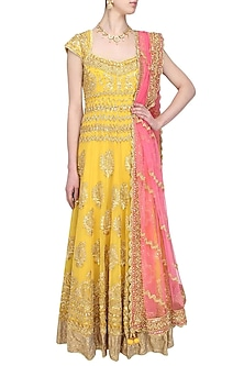 yellow gota patti and beads embroidered anarkali set by Preeti S Kapoor