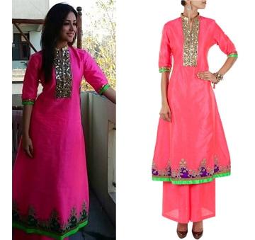 Coral pink embroidered kurta set by Ohaila Khan