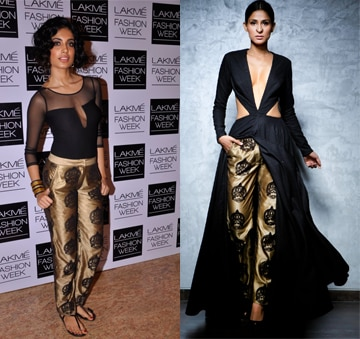 Black cutout anarkali with kathakali pants by Nikhil Thampi