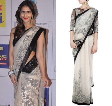 Black and white sari gown with applique work by Varun Bahl