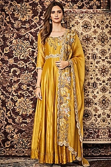 Yellow Embroidered Anarkali With Dupatta by Khushboo Bagri