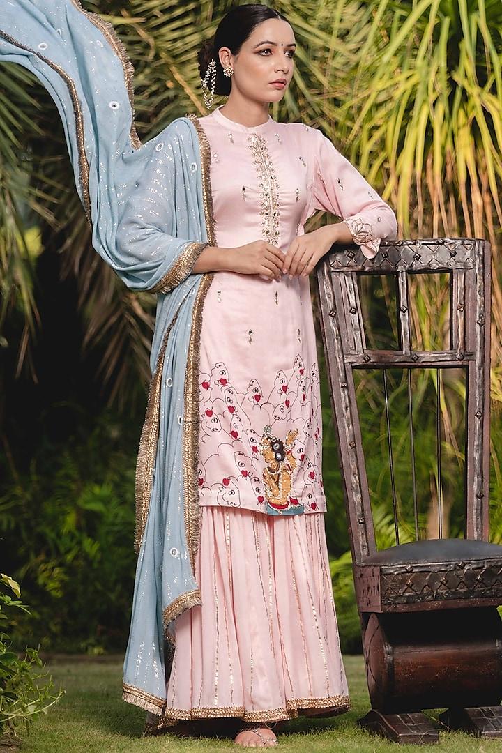 Pink Embellished & Printed Sharara Set by Upasana Gupta