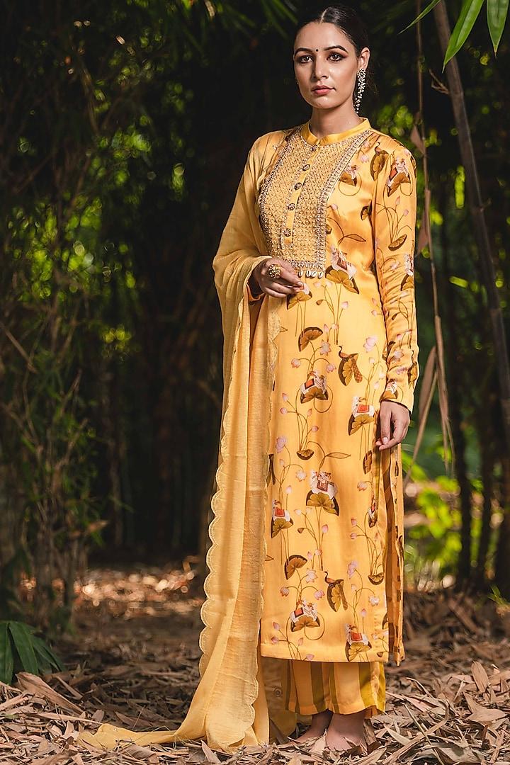 Saffron Embroidered & Printed Kurta Set by Upasana Gupta